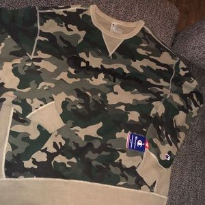 Camo and black champion crewneck sweater